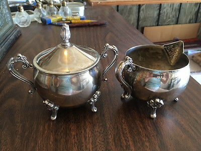 Matched set Cream and Sugar, footed silverplate