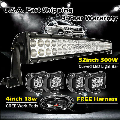 """52 inch LED Light Bar Curved + 4x 4"""" CREE Led Pods Truck Offroad Jeep SUV UTE 50"""