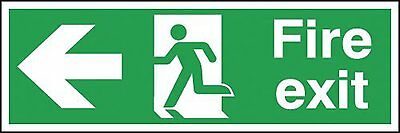 "Signs and Labels AMZFE043AGARP ""Fire Exit Running Man Arrow Left"" Safe Condition"