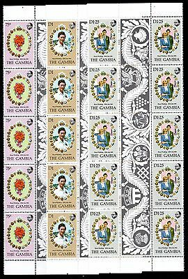 THE GAMBIA 1981 Diana Wedding Gutter Strips Complete sets MNH