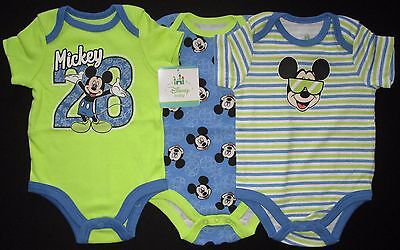 Baby Boys Disney Bodysuit Romper Three Triple Pack Set Blue Green Mickey Sz 000