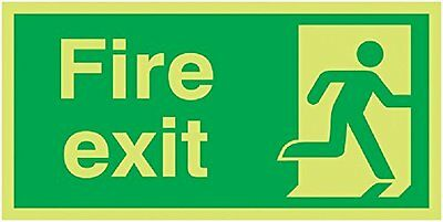 "Signs and Labels AMZFX04930MX ""Fire Exit Running Man Right"" Safe Condition Sign,"