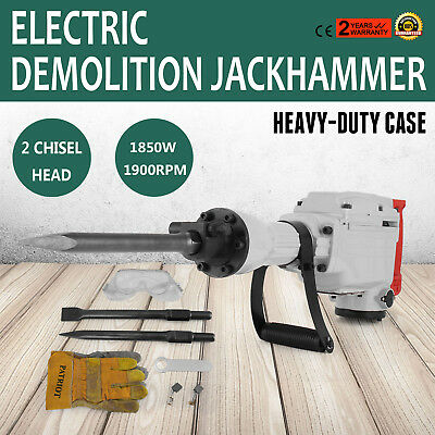 Electric Demolition jack Hammer Drill 1850W Double Insulated W/ Gloves 2 Chisels