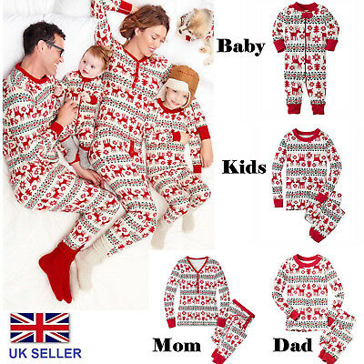 Family Matching Christmas Pajamas Sets Xmas Gift Sleepwear Nightwear Pyjamas UK