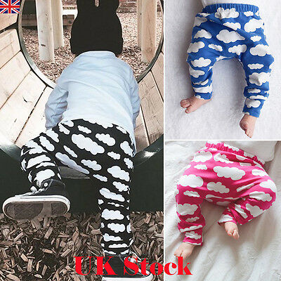 Toddler Kids Baby Boys Girls Cloud Printed Long Harem Pants Trousers Leggings UK