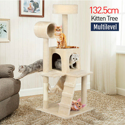 133CM Cat Tree Condo Furniture Toy Scratch Post Kitten Pet House Deluxe Beige