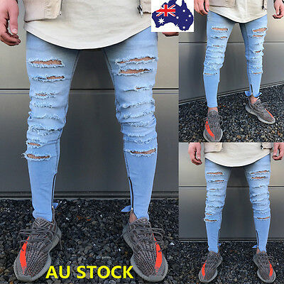 Mens Ripped Skinny Biker Jeans Destroyed Frayed Slim Skinny Denim Pants Trousers