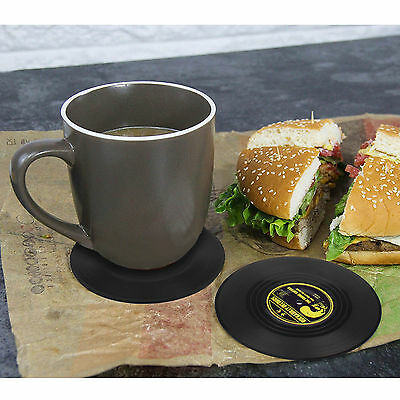 Coasters for Drinks Set of 6 Vintage Vinyl Record Retro Mats Soft Hard Cup Mat