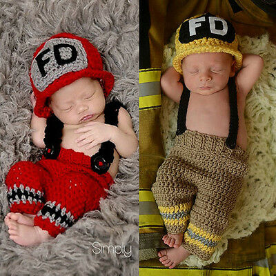 Set Fireman knit handmade NB baby cosplay firefighter Photography costumes