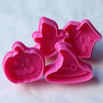 4Pcs Cookies Chocolate Baking Cake Candy Mold Mould Pumpkin Whitch Hat Halloween