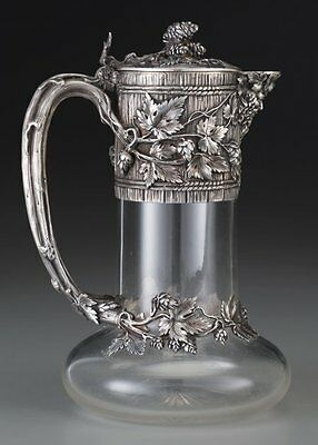 A French Silver Mounted Glass Claret with Trompe