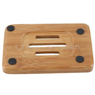 1pcs Natural Bamboo Wood Soap Dish Storage Holder Bath Shower Plate Bathroom