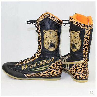 Mens Boxing Boots Gym MMA Wrestling Shoes Leopard High Top Bodybuilding gift New