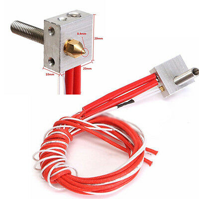 1.75mm MK8 0.4mm Throat Tube Nozzle Assembled Extruder Hot End Kit fr 3D Printer