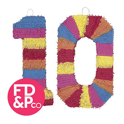 Birthday Number Muti Coloured Bash Pinata Birthday Party Game Decoration Ten 10