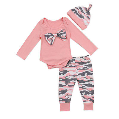 UK Stock Camouflage Newborn Baby Girls Tops Romper Pants Outfits Clothes Casual