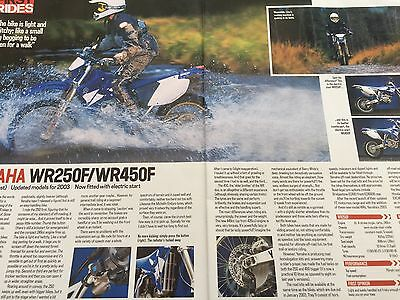 "Yamaha Wr250F / Wr450F - Original 2 Page 2003 ""first Ride"" Motorcycle Article"