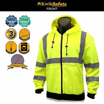 New Class 3 Winter Safety Jacket High Visibility Reflective Full Zip Coat Large