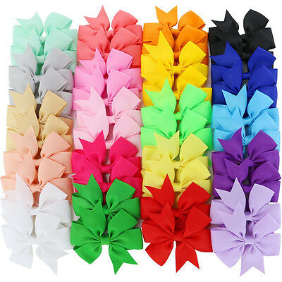 40 Boutique Hair Bows Grosgrain Ribbon Teen Kid Toddler Baby Girl Clip Alligator