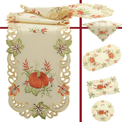 Pumpkin Sunflower Embroidery Tablecloth Table runner Pillowcase Linen-Look Cream