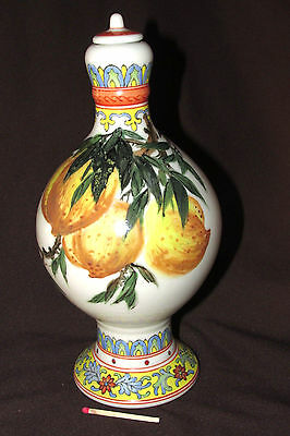 ANTIQUE CHinese FAMILLE ROSE Lidded POT JAR Fruits Peaches Poem Signed 22CmT