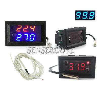 DC 12V Blue Red W1218 Thermostat+3-Digit NTC Probe Controller Replace W1209WK