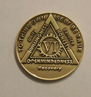 aa bronze alcoholics anonymous 6 year sobriety chip coin token medallion