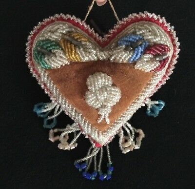 Antique Native American Indian Iroquois Beadwork HeartPin Cushion, Niagara Falls