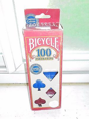 Bicycle Brand Plastic Poker Chips 100 Pack Casino Colors NEW Game