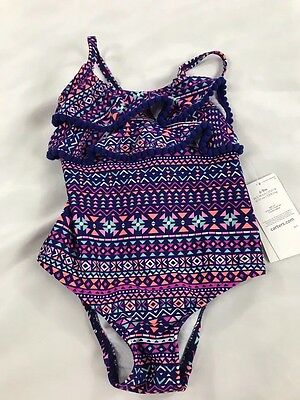 Carter's Girl's One-Piece Swimsuit Aztec Ruffles 50 UPF NWT