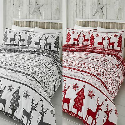 Happy Linen Co Festive Scandi Nordic Christmas Duvet Quilt Cover Bedding Set