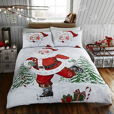 Happy Linen Co Santa On Ice Father Christmas Duvet Quilt Cover Bedding Set