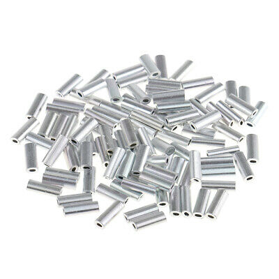 100pcs Single Fishing Crimp Sleeves Aluminium Tube Wire Leader Sleeve