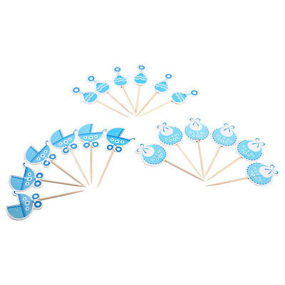 2-Color Boy/Girl Type Kids Birthday Cupcake Toppers Baby Shower Cake Decorations