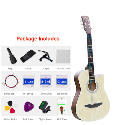"""New 38"""" Beginner Acoustic Guitar With Case, String, Tuner, and More Natural"""