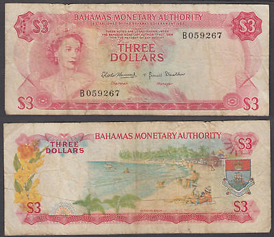 Bahamas 3 Dollars 1968 (F) Condition Banknote P-28 QEII