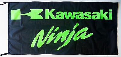 KAWASAKI NINJA FLAG BLACK - SIZE 150x75cm (5x2.5 ft) - BRAND NEW