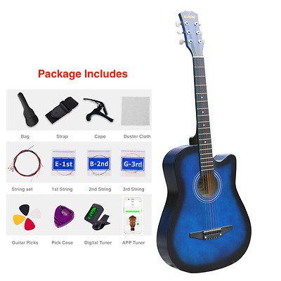 """New 38"""" Beginner Acoustic Guitar With Case, String, Tuner, and More Blue"""