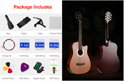 """New 38"""" Beginner Acoustic Guitar With Case, String,Tuner and More Sapele Natural"""