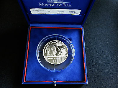 2006 France 20 EURO Benjamin Franklin 5 oz silver proof coin mintage only 500