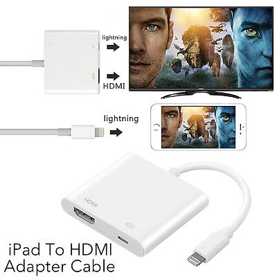 8Pin Lightning to Digital AV Adapter HDMI Cable For iPhone 7 8 6S iPad Air 2017