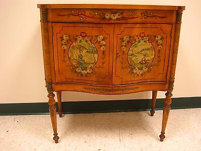 Antique Hand Painted Floral Trim Wooden Asian Nightstand End Table w Key
