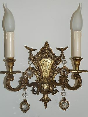 Antique Brass/bronze Sconce With Birds And Crystal Drops