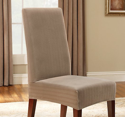 Sure Fit Short Dining Chair Slipcover Stretch Pinstripe In Taupe