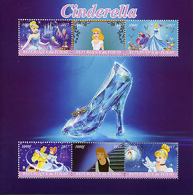 Chad 2017 CTO Cinderella 6v M/S Disney Cartoons Stamps