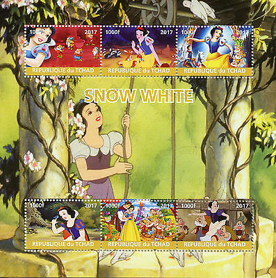 Chad 2017 CTO Snow White 6v M/S Disney Cartoons Stamps