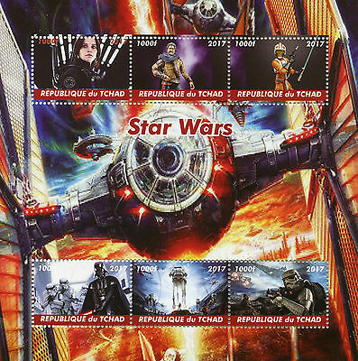 Chad 2017 CTO Star Wars 6v M/S Darth Vader Movies Film Stamps