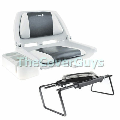 Boat Seat Package - Boat Seat +  Bench Seat Clamp + Caddy Grey/Black
