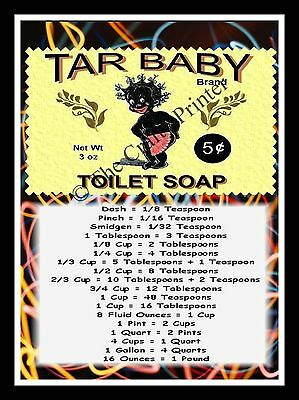 "BLACK AMERICANA  MAGNET - MEASUREMENT GUIDE - Tar Baby Toilet Soap - 5"" x 7"""