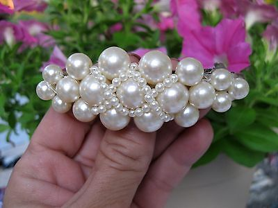 "Vtg New Beaded Pearl Hair Barrette French Clip Wedding Retro 3"" Long 70's Nos"
